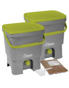 Bokashi Organko Set (2 x 16L) Grey-Lime with 2kg Bokashi Bran