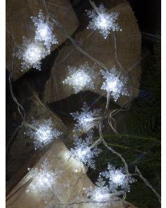 White crystal snowflake garland with 20LED Lights