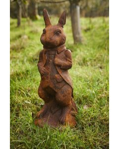 Cast Iron Standing Rabbit Statue in Rust