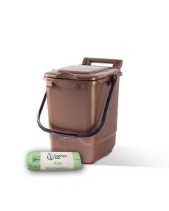 23ltr Brown Kitchen Caddy + 25 Pack of Liners