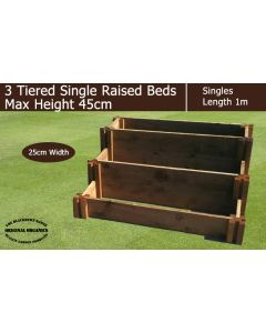 45cm High 3 Tiered Single Raised Beds - Blackdown Range - 100cm Wide