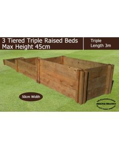 45cm High 3 Tiered Triple Raised Beds - Blackdown Range - 25cm Wide