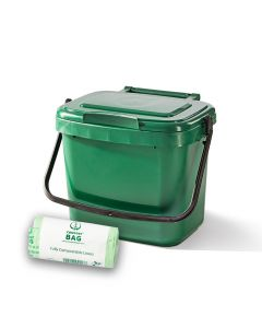5ltr Green Kitchen Caddy + 26 Pack of Liners
