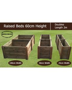 60cm High Double Raised Beds - Blackdown Range - 25cm Wide