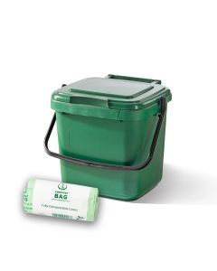 7ltr Green Kitchen Caddy + 26 Pack of Liners