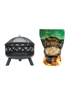 Round Black Fire Pit with Twizler Firelighters