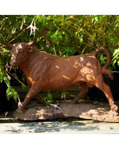 Cast Iron Miniature Bull Statue - Rust