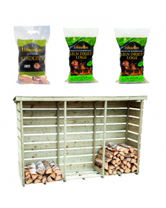 Heavy Duty Nordic Spruce Wooden 3Log Store with Logs and Kindling