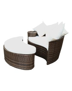 Rattan Curved Day Bed / Sofa & Footstool With Cream Cushions
