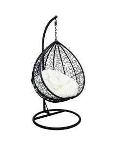 Rattan Hanging Swing Chair Black with Cream Cushion