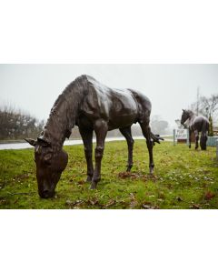 Cast Iron Life-sized Horse Statue, Grazing