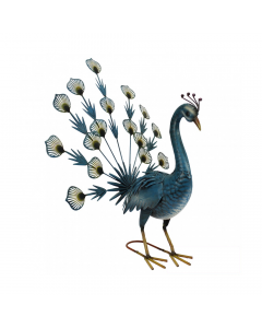 Metal Blue Fantailed Peacock Ornament