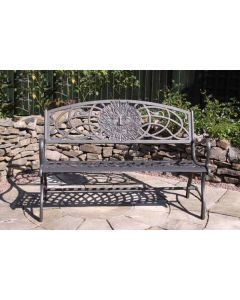 100% Cast Iron Bench With Greenman Decoration