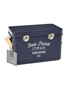 Seed Packet Tin Leather Handle - Atlantic Blue