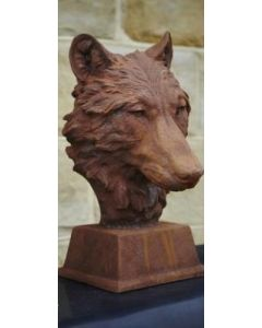 Cast Iron Wolf Head Statue - Rust