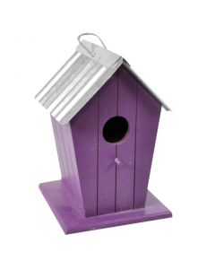Wooden Beach Hut Bird House Nesting Box - Purple