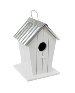 Wooden Beach Hut Bird House Nesting Box - White